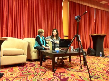 Valerie Sargent conducting an interview with multifamily legend, Anne Sadovsky