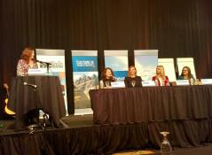 Valerie Sargent asks questions of the panel at the Multifamily Leadership Summit